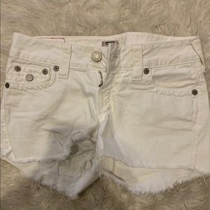 True religion white jean shorts